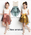 2-10Y girls Summer dress 2014  Sleeveless  girls dress Chilffon Bowknot Casual mermaid girl dress princess by 3 colors