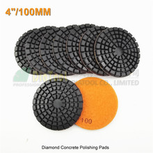 9pcs 100mm thickened Resin bond diamond concrete floor renew pads #100 4inches concrete polishing pads renew disc repairing disk