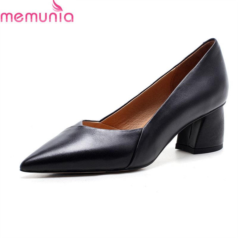 MEMUNIA 2018 new arrive women pumps fashion simple comfortable spring autumn med heels pointed toe genuine leather shoes woman fashion new spring summer med high heels good quality pointed toe women lady flock leather solid simple sexy casual pumps shoes
