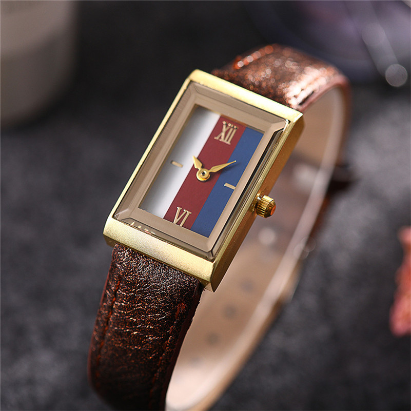 Fashion Women Watches Modern Luxury Leather Strap Analog Quartz Wristwatch Ladies Casual Square Dial Clock Gifts /D