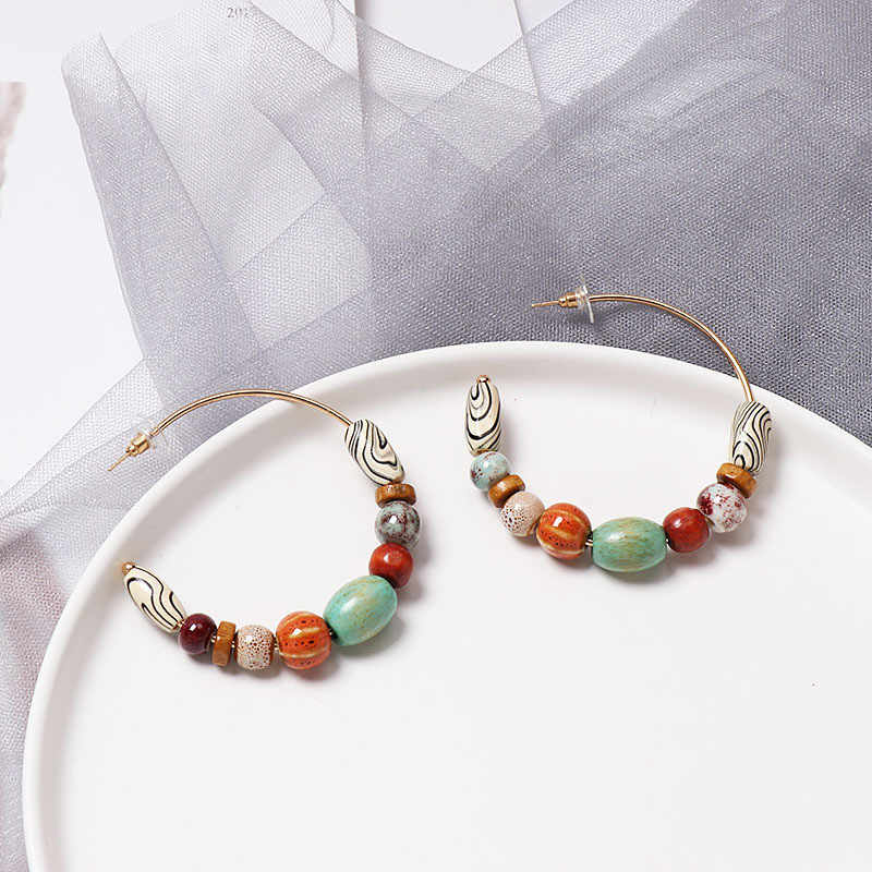 Alloy Ring Wood Beads Boho Hanging Drops Earring Vintage Ethnic Natural Stone Dangle Earrings Women Jewelry Fashion Earrings