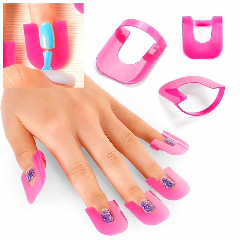 26 PCS 10 ขนาดเล็บ Protector กาวรุ่น Spill PROOF Manicure Protector SHIELD Protector ทำเล็บมือเล็บเครื่องมือ