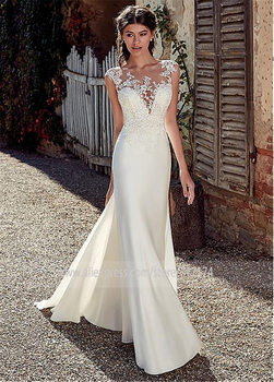 Modest Soft Satin Bateau Neckline Mermaid Wedding Dresses With Lace Appliques Sheer Bridal Dress Illusion Back 2