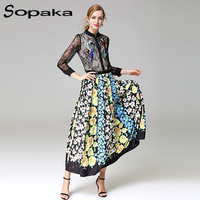 SOPAKA High Quality Runway Design Two Piece Set Black Lace Bird Embroidery Crop Top And Floral
