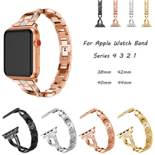 Women Diamond Link Bracelet Band For Apple Watch Band 44mm 40mm 42mm 38mm Stainless Steel Strap For iwatch 4 3 2 1 Watchbands stainless steel watchbands for apple watch band strap link silver rose gold black metal bracelet 42mm 38mm iwatch accessories
