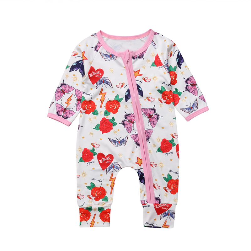 0-2T Infant Baby Girl Long Sleeve Zipper Floral Romper Jumpsuit Playsuit Outfits
