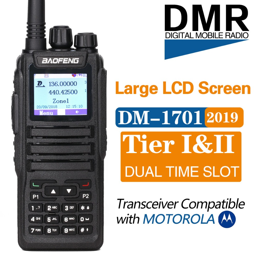 Baofeng DM1701 Dual Band Dual Time Slot DMR Numérique Tier1 & 2 Talkie Walkie 3000 Canaux 10000 Contacts SMS DM-1701 radio