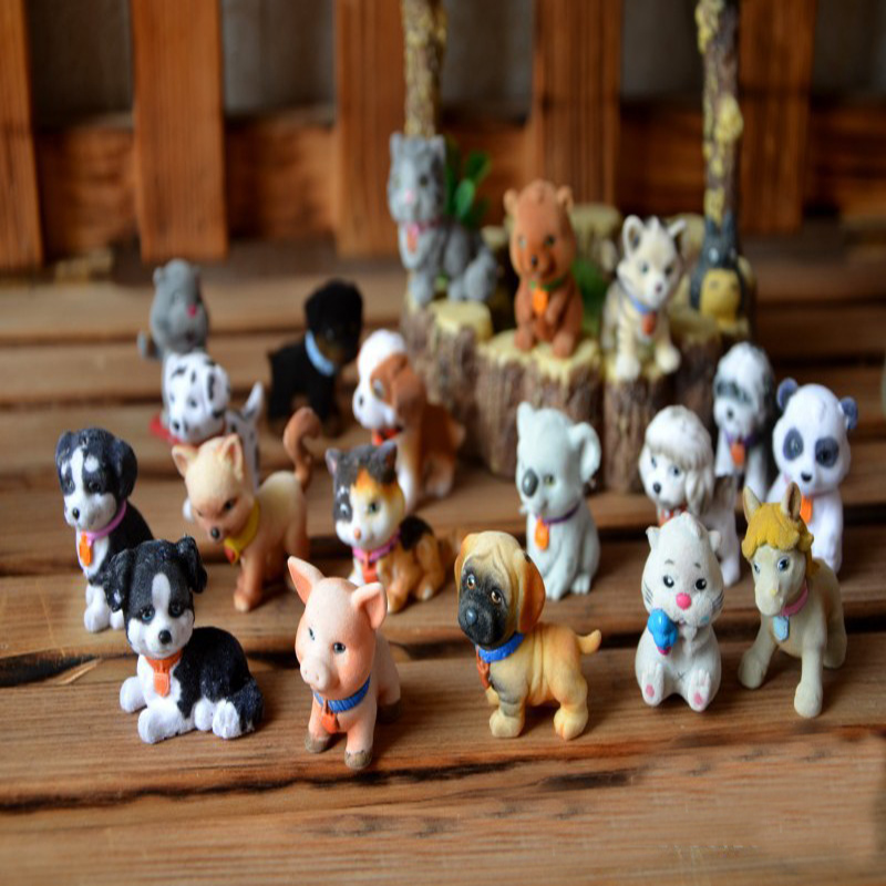10pcs Original bulks mini pets animals in my pocket little jungle farm animals puppy kitten bunny dolls kids toys for girls my first animals
