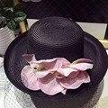 2017 Chapéus de Verão para Mulheres Floppy Dobrável Mulheres Grandes Flores de Praia palha Chapéu de Sol Feminino Verão Grande Sunhat Borda Plana Cap Chapeau