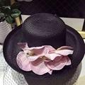 2017 Sombreros de Verano para Mujeres Plegable Flojo Mujeres Grandes Flores Beach Sun de la paja del Sombrero Femenino del Verano de Ala Ancha Sombrero Plano Cap Chapeau