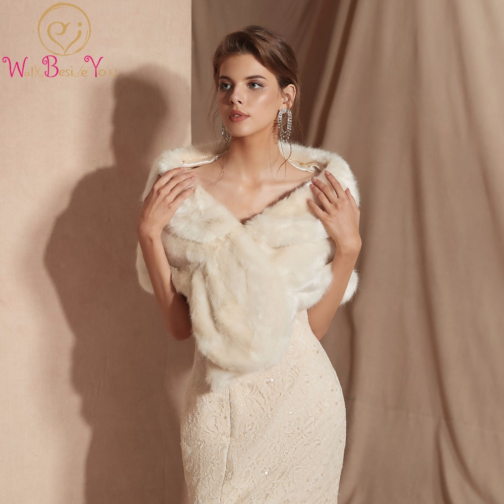 In Stock Ivory white Fur Shawl Wedding Wrap For Formal Dress Cheongsam Married Outerwear Bridal Cape Autumn Winter Jacket