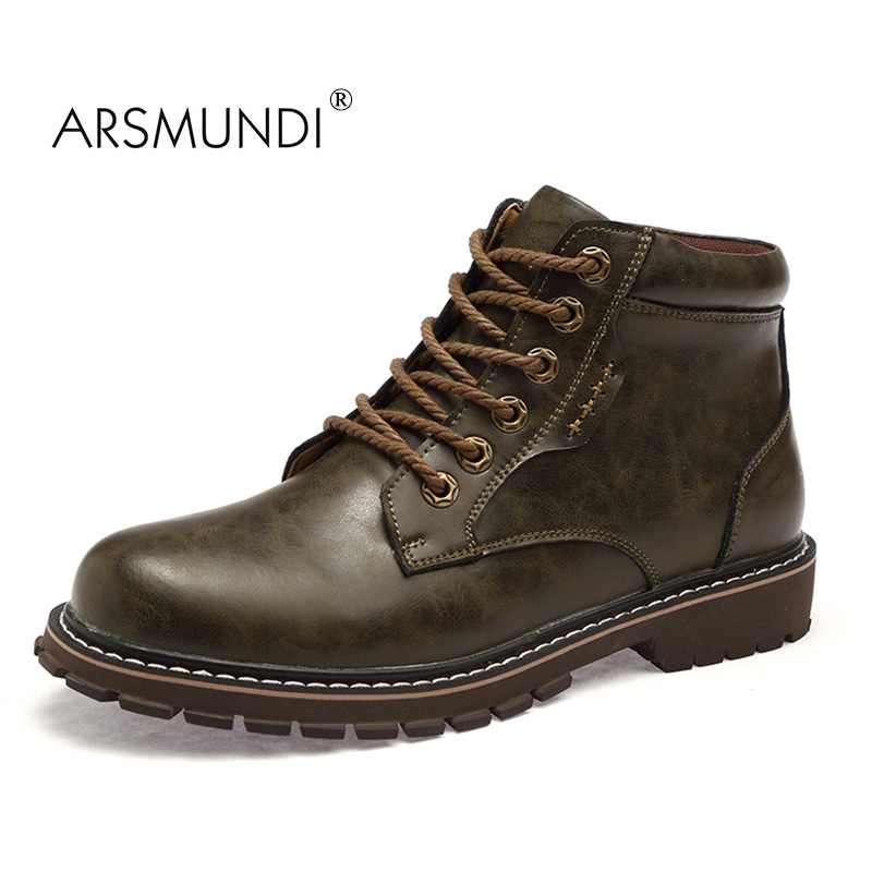 ARSMUNDI 2017 Men Boots ML-K0606 Genuine Leather Lace-Up Men Fashion Shoes Retro Design Boots Casual Men Shoes Brown Round Toe front lace up casual ankle boots autumn vintage brown new booties flat genuine leather suede shoes round toe fall female fashion