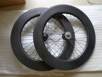 New 700C 88mm tubular rims track fixed gear bike aero matte 3K full carbon fibre bicycle wheelsets with Fixed Gear hub Free ship
