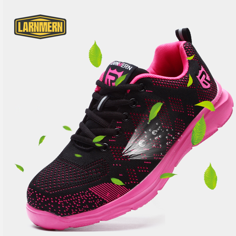 Pink Safety Shoes For Women Steel Toe Work Shoes Construction Shoes Safety Work Boots Breathable Women
