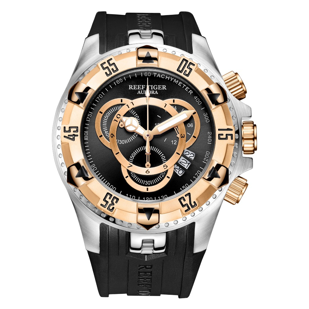 Reef Tiger/RT Top Brand Luxury Sport Watch for Men Yellow Gold Steel Waterproof Watches Chronograph Date Reloj Hombre RGA303-2