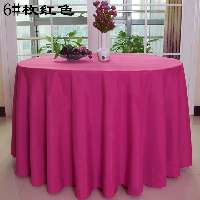 Free Shipping 10pcs Hot Pink Polyester Round Table Cloths Wedding Table  Covers Table Linens For Banquet
