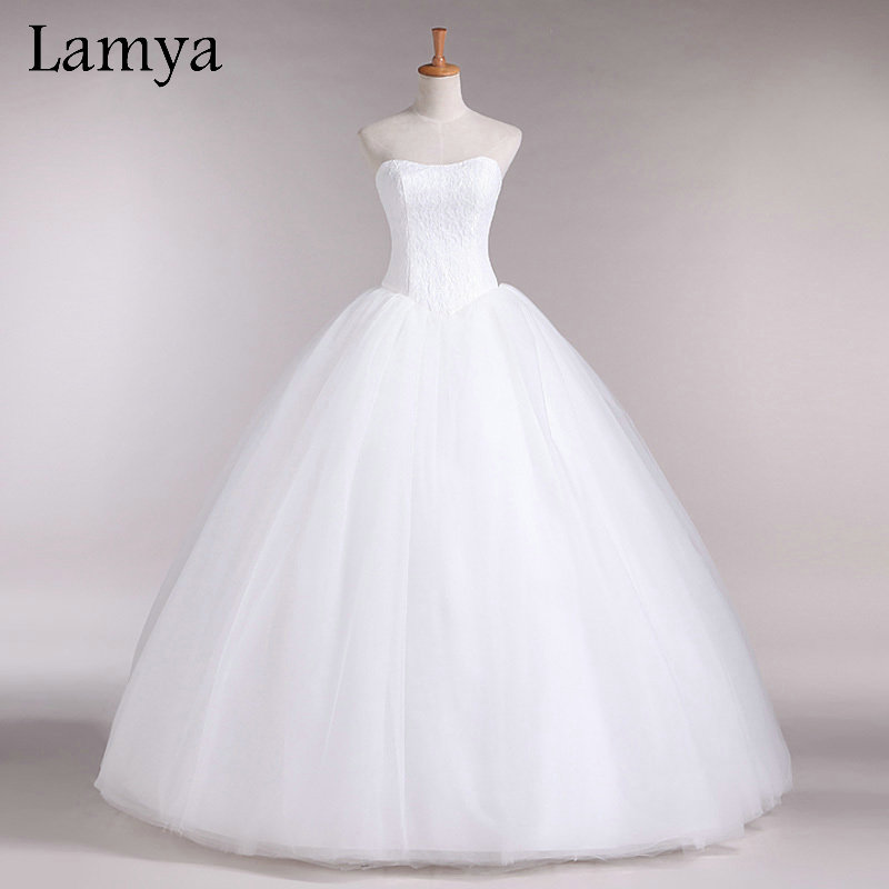 Custom Made Wedding Dress 2018 Billige Celebrity Stropløs Vintage Tulle Brude Ball Kjole Organza Blonde Brude Kjoler D-14018