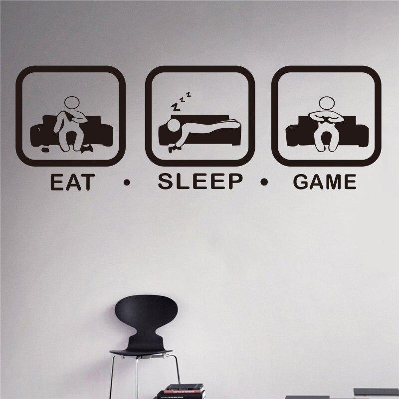 Eat Sleep Game Wall Decal Gaming Joystick Playing Sticker Decor Gamer Ps4 Geek Art