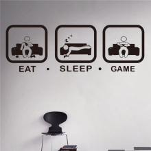 Eat Sleep Game Wall Decal Gaming Joystick Playing Sticker Decor Gamer Ps4 Geek Art