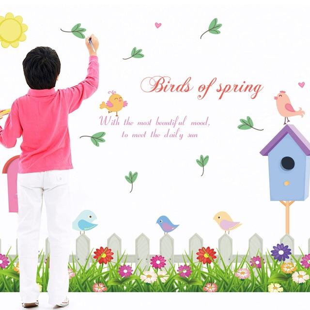 Birds Of Spring Flower Fence Bird House Carton Living Room Kids Wall