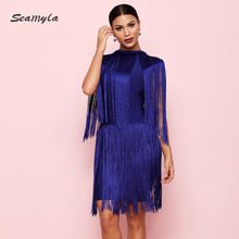 Celebrity Bandage Dresses Women 2018 Fringe Winter Dress Sexy Tassels Club Vestidos Bodycon Evening Party Dresses
