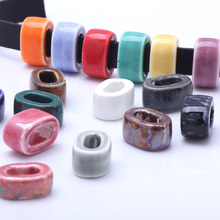 OlingArt 18*13*10MM 10pcs/lot 16 colors Mixed Ceramic 10*5MM square beads for Leather rope Necklace Bracelet DIY Jewelry Making