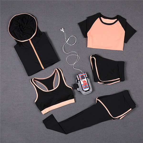5 PCS Women Yoga Set for Running T-Shirt Tops Sports Bra Vest Fitness Pants Short sleeve Shorts Pant Gym Workout Sports Suit Set