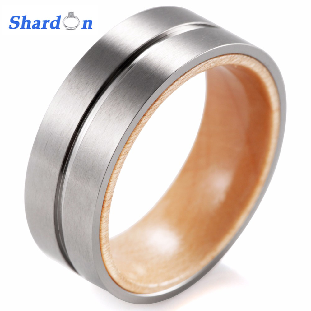 SHARDON Titanium and wood Ring with Groove Matte Finishing Mens titanium wedding band inner wood comfort fit Wedding Ring Band кольцо s j063 wedding band ring