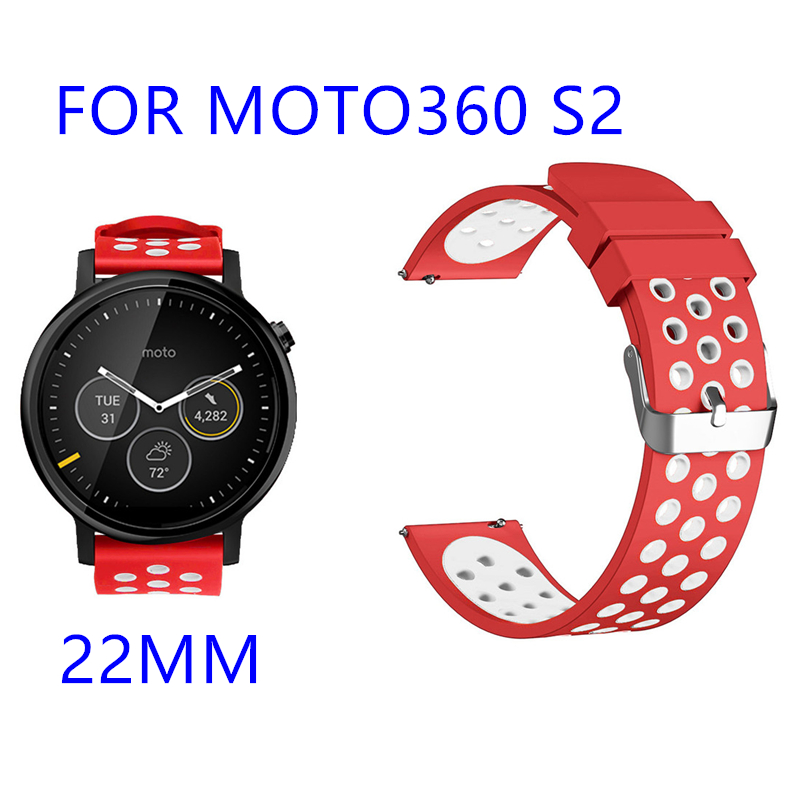 suitable for <font><b>MOTO</b></font> <font><b>360</b></font> S2 22mm Silicone Replacement Breathable Sport <font><b>Bands</b></font> with air holes new soft double color watch strap image