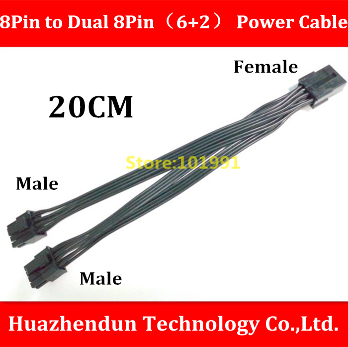High Quality   PCI-E GPU 8Pin Female to Dual  8Pin(6+2) Male  Extension Power Supply Cable 20CM  Black  18AWG high quality new product 16awg module cable 7pin male to gpu 6pin male gpu 8pin 6 2 male for server for power 80cm