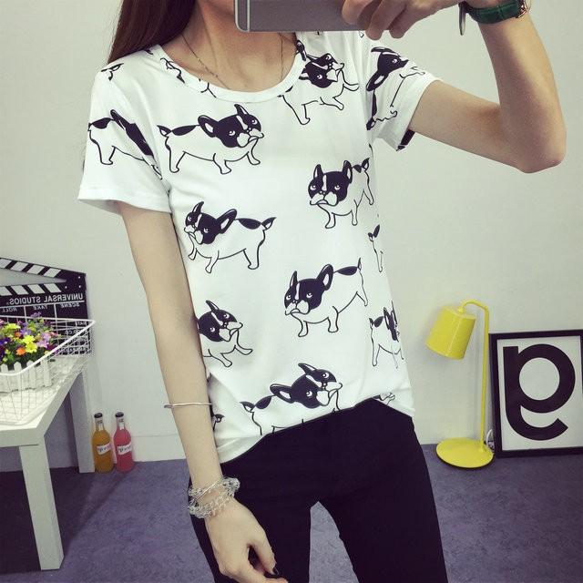 HTB1oZaPJFXXXXazXVXXq6xXFXXXQ - 2016 casual fashion brand women summer style Tops women's Tshirts French Bulldog T Shirts camisetas femininas poleras de mujer
