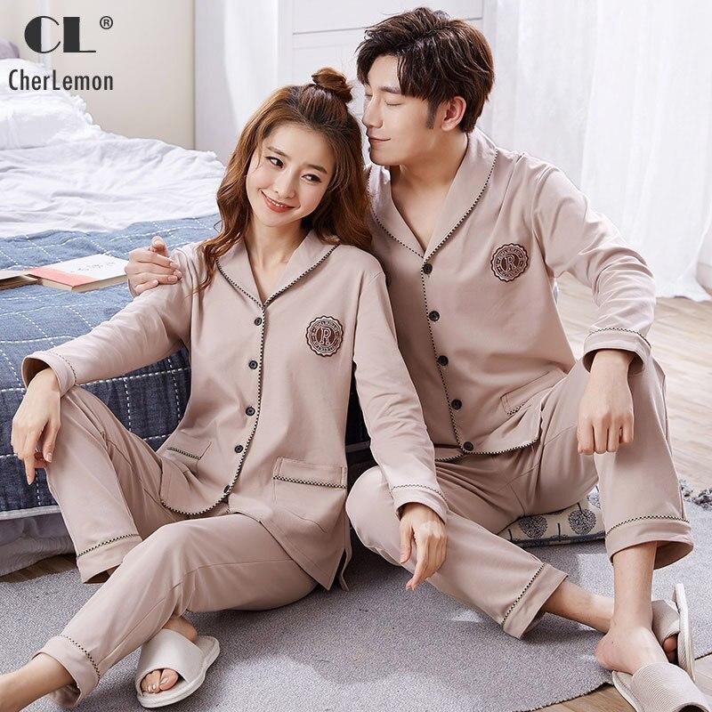 CherLemon Couples Premium Cotton Pajama Set Mens Notch Collar Sleepwear Women's Sping Cardigan Long-Sleeved Plus Size Homewear
