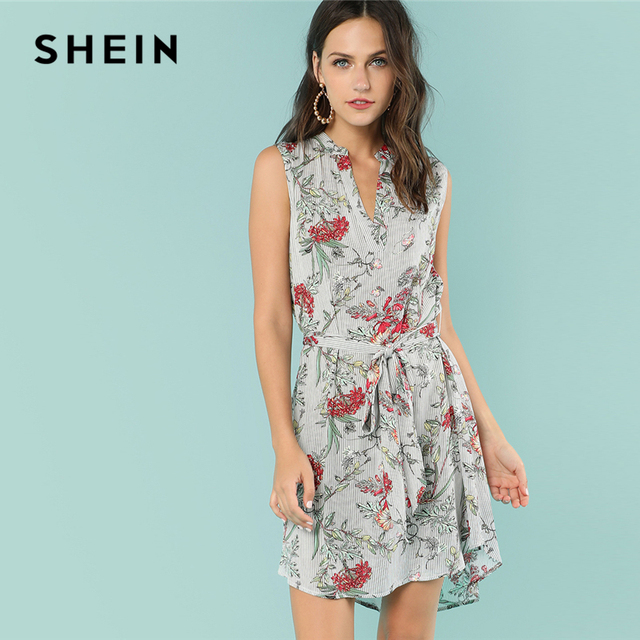 a9209cb06914 SHEIN Multicolor Vacation Boho Bohemian Beach Floral Mixed Print V Cut Neck  Belted Asymmetrical Dress Summer