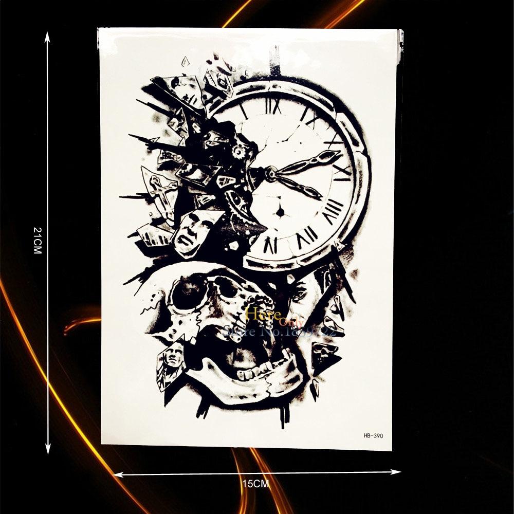 1pc Sexy Large Arm Sleeve Tattoo Death Skull Bone Clock Design Men Women Body Art Tatoo Waterproof Temporary Tattoo Paste Hhb390 Wide Selection; Tattoo & Body Art