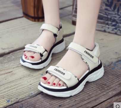 2018 lato kobiety sandały na platformie hak pętli sandalia feminina 2019 panie buty kobieta sandały Zapatos Mujer
