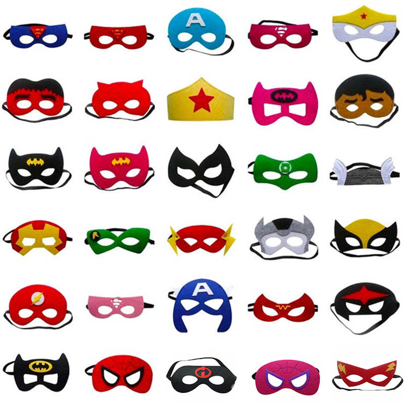 31pcs Superhero Halloween Costumes Cosplay Mask Xmas Superman Batman Spiderman Anime Masquerade Mask Kids Birthday Party