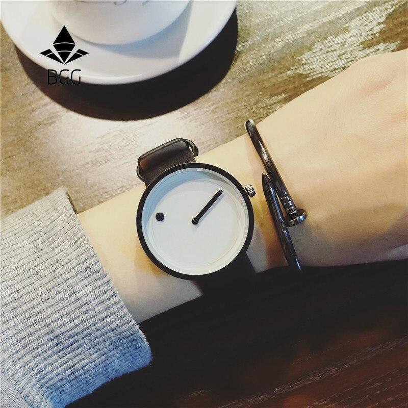 Купить на aliexpress 2017 минималистичный стиль креативные наручные часы BGG черный и белый новый дизайн точка и линия простые Стильные кварцевые модные часы подар...