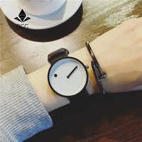 Relojes de pulsera creativos estilo minimalista 2019 BGG negro y blanco nuevo diseño Punto y línea simple elegante cuarzo relojes de moda regalo