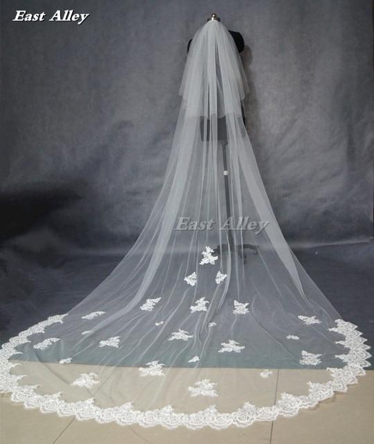 شعبية نمط جديد الأبيض أو العاجي 2 طبقة أحمر الخدود الحجاب 3 متر الدانتيل حافة طول الكاتدرائية الزفاف الحجاب الزفاف