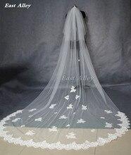 Popüler yeni stil beyaz veya fildişi 2 katmanlı allık peçe 3 metre dantel kenar katedrali uzunluğu düğün gelin peçe