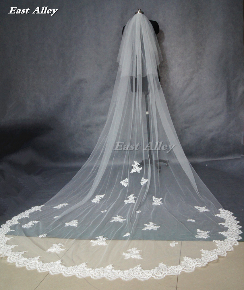Popular New Style White Or Ivory 2 Layer Blusher Veil 3 Meters  Lace Edge Cathedral Length Wedding Bridal Veil