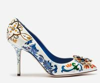 2018 Newest Blue and White Flower Printed high Heel Shoe Sexy Pointed Toe Crystal Ladies Shoes with Heels Thin heels Pumps