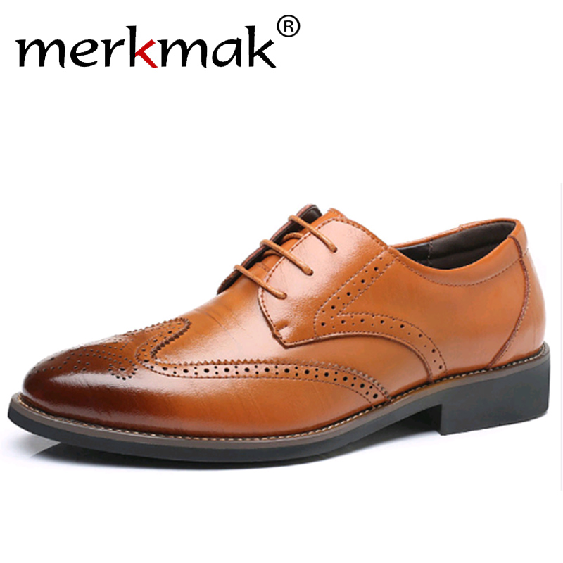 Merkmak Luxury Designer Formal Men Dress Shoes Genuine Leather Classic Brogue Shoes Flats Oxfords For Wedding Office Business mycolen 2018 high quality business dress men shoes luxury designer crocodile pattern formal classic office wedding oxfords