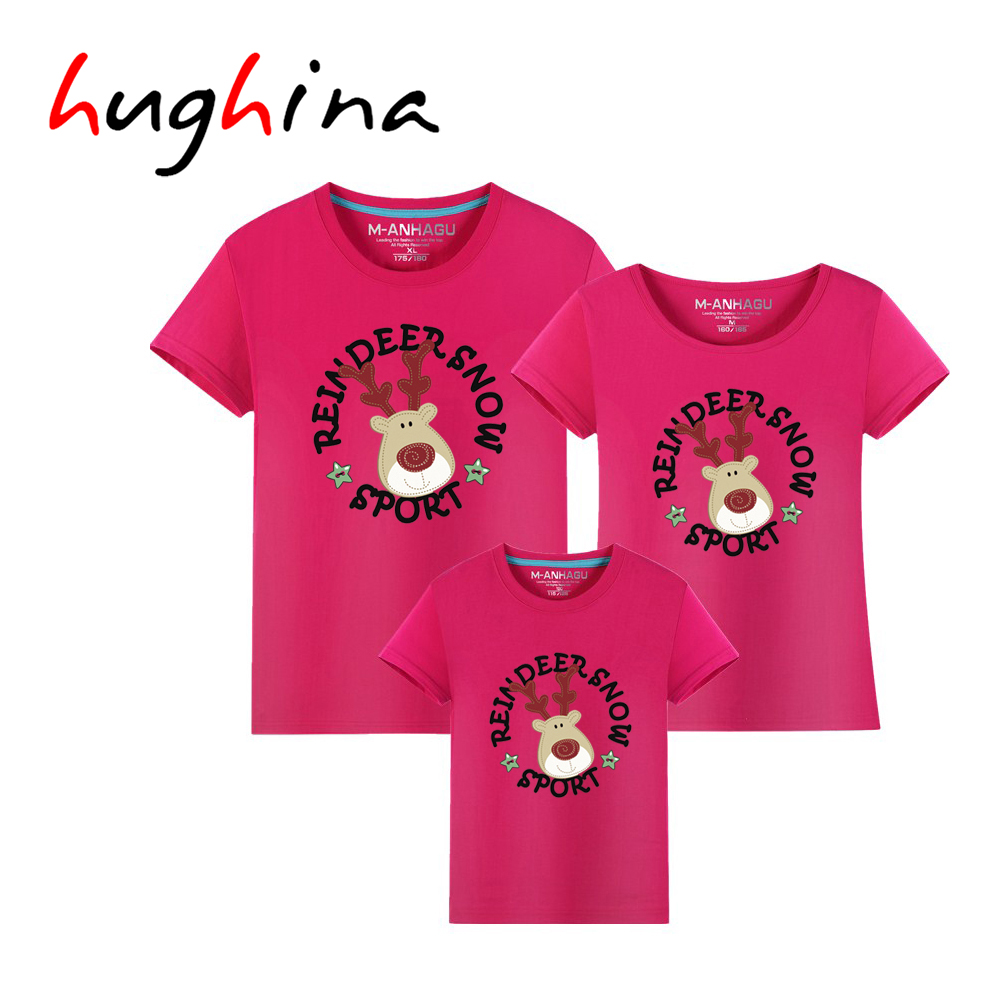 Hughina Family Look Animals Reindeer T Shirts Summer Family Matching Clothes Father Mother Kids Outfits Cotton
