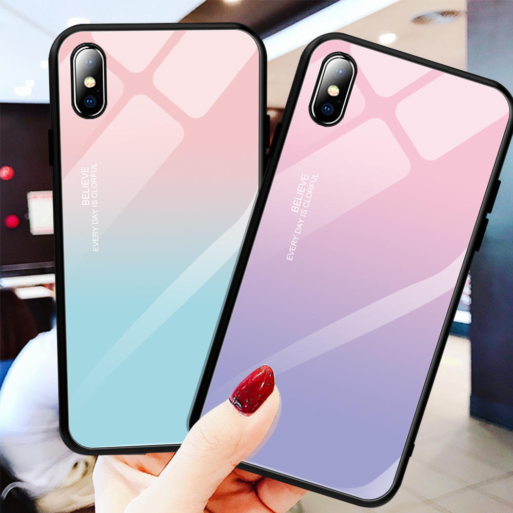 Gradient Luxury Tempered Glass For iPhone Xr Xs Xs Max 8 7 6 6S Plus Back Cover Phone Case For iPhone XS Max XR XS X 8 7 6 6S