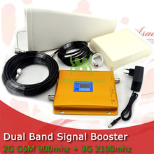 LCD Display 3G W-CDMA 2100MHz + 2G GSM 900Mhz Dual Band Mobile Phone Signal Booster GSM 900 2100 UMTS Signal Repeater Amplifier