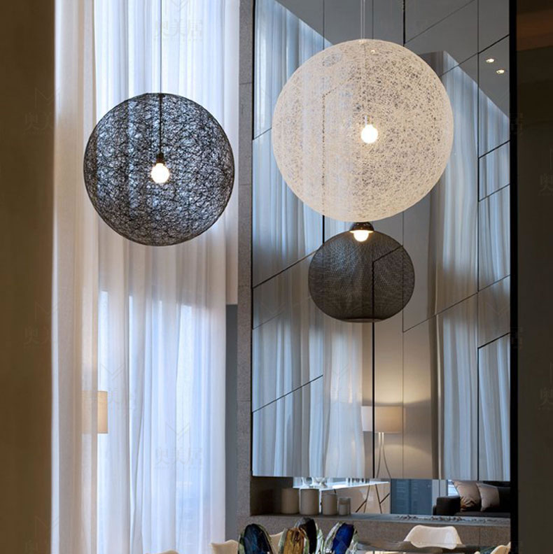 Modern Creative Personality Colorful Rattan Pasta Mar Ball E27 Pendant Lamps for Restaurant Bar Cafe Hallway Pendant light ...