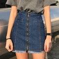 2017 Весной и летом женская нью высокой талией джинсовой юбке тонкие края все матч юбка мешок хип