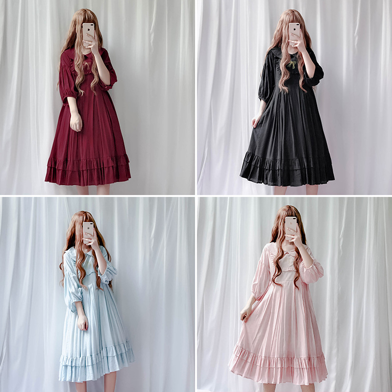 JSK Japan Style Lolita doll collar dress Vintage babydoll dress bishop sleeve Juicy pleated dress free shipping