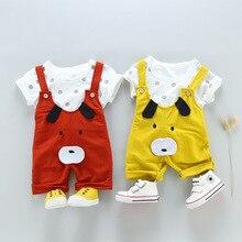 Summer style baby boy clothing set newborn infant 2pcs short sleeve t-shirt + animal design